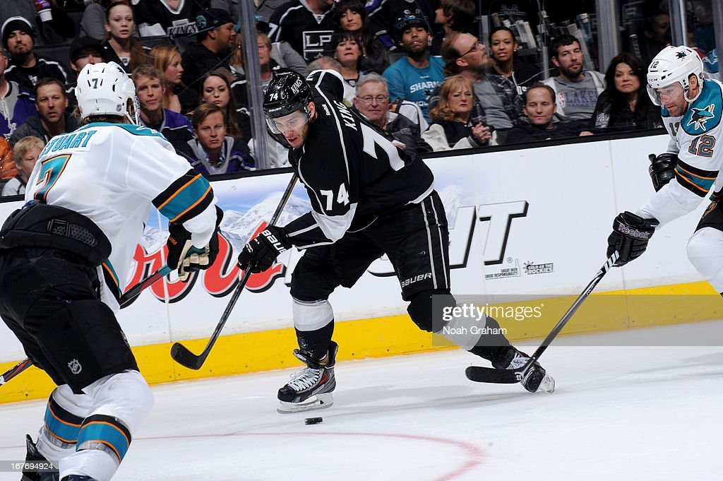 <a gi-track='captionPersonalityLinkClicked' href=/galleries/search?phrase=Dwight+King+-+Ice+Hockey+Player&family=editorial&specificpeople=4537297 ng-click='$event.stopPropagation()'>Dwight King</a> #74 of the Los Angeles Kings skates with the puck against the San Jose Sharks at Staples Center on April 27, 2013 in Los Angeles, California.