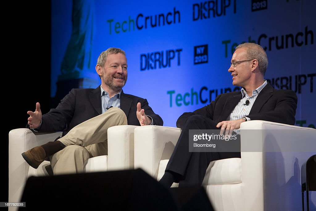 Dwight Merriman, chairman and co-founder of 10gen, left, and Kevin Ryan, founder and chief executive officer of Gilt Groupe Inc., speak during the TechCrunch Disrupt NYC 2013 conference in New York, U.S., on Monday, April 29, 2013. The event features leaders from various technology fields and includes a competition for the best new startup company. Photographer: Scott Eells/Bloomberg via Getty Images