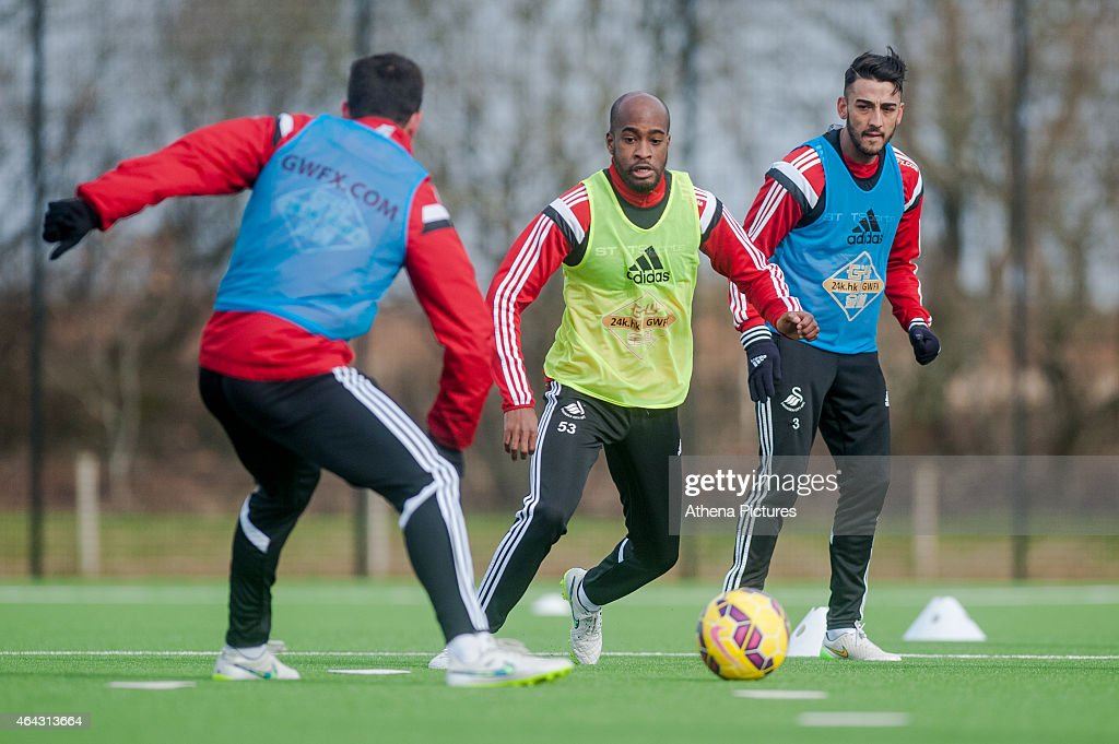 <a gi-track='captionPersonalityLinkClicked' href=/galleries/search?phrase=Dwight+Tiendalli&family=editorial&specificpeople=600413 ng-click='$event.stopPropagation()'>Dwight Tiendalli</a> in action during the Swansea City training session on February 24, 2015 in Swansea, Wales.