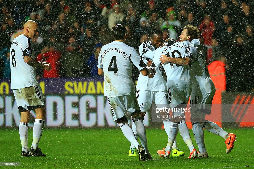 Dwight Tiendalli #10 (2nd R) of Swansea is congratulated by teammates after his header on goal is deflected by Bryan Oviedo of Everton for an own goal during the Barclays Premier League match between Swansea City and Everton at the Liberty Stadium on December 22, 2013 in Swansea, Wales.