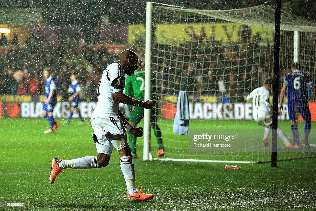 Dwight Tiendalli of Swansea's celebrates after his header on goal is deflected by Bryan Oviedo of Everton for an own goal during the Barclays Premier League match between Swansea City and Everton at the Liberty Stadium on December 22, 2013 in Swansea, Wales.