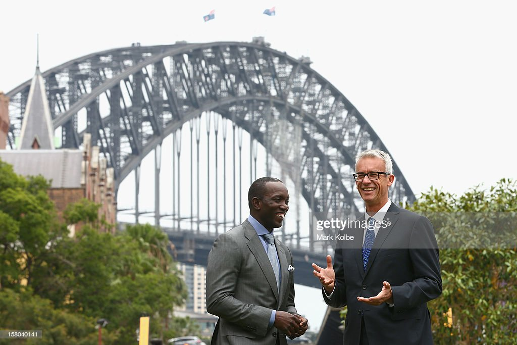 <a gi-track='captionPersonalityLinkClicked' href=/galleries/search?phrase=Dwight+Yorke+-+Soccer+Player&family=editorial&specificpeople=206855 ng-click='$event.stopPropagation()'>Dwight Yorke</a> and FFA CEO <a gi-track='captionPersonalityLinkClicked' href=/galleries/search?phrase=David+Gallop&family=editorial&specificpeople=579322 ng-click='$event.stopPropagation()'>David Gallop</a> pose after a press conference at Museum of Contemporary Art on December 10, 2012 in Sydney, Australia. Manchester United will play an A-League All-Stars match in Sydney on July 20, 2013.
