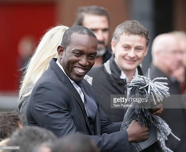Dwight Yorke attends the unveiling of a statue of Manager Sir Alex Ferguson of Manchester United at Old Trafford on November 23 2012 in Manchester...