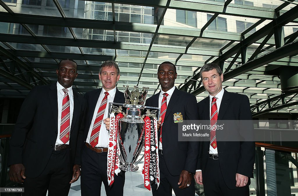 <a gi-track='captionPersonalityLinkClicked' href=/galleries/search?phrase=Dwight+Yorke&family=editorial&specificpeople=206855 ng-click='$event.stopPropagation()'>Dwight Yorke</a>, <a gi-track='captionPersonalityLinkClicked' href=/galleries/search?phrase=Bryan+Robson&family=editorial&specificpeople=206232 ng-click='$event.stopPropagation()'>Bryan Robson</a>, Andy Cole and Dennis Irwin pose with the Barclays Premier League trophy during the official Manchester United official lunch at Westin Hotel on July 18, 2013 in Sydney, Australia.