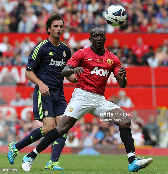 Dwight Yorke for the MU Foundation Charity Legends match between Manchester United Legends and Real Madrid Legends at Old Trafford on June 2 2013 in...