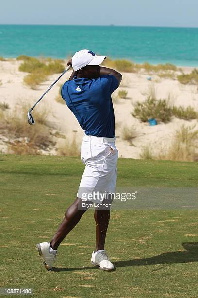 Dwight Yorke in action during the Laureus Golf Challenge at the Saadiyat Beach Golf Club part of the 2011 Laureus World Sports Awards on February 6...
