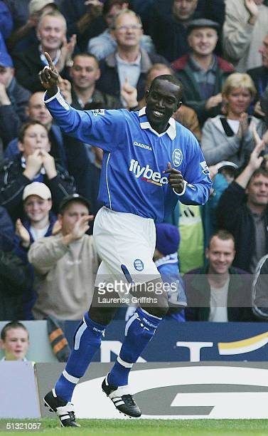 Dwight Yorke of Birmingham celebrates his goal during the FA Barclays Premiership match between Birmingham City and Charlton Athletic at St Andrews...