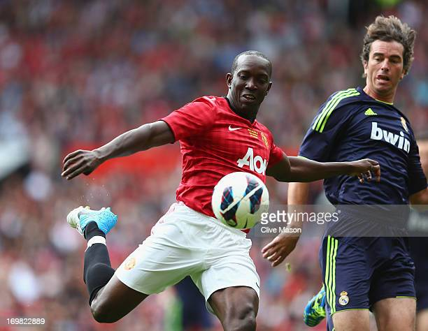 Dwight Yorke of Manchester United in action during the charity match between Manchester United Legends and Real Madrid Legends at Old Trafford on...