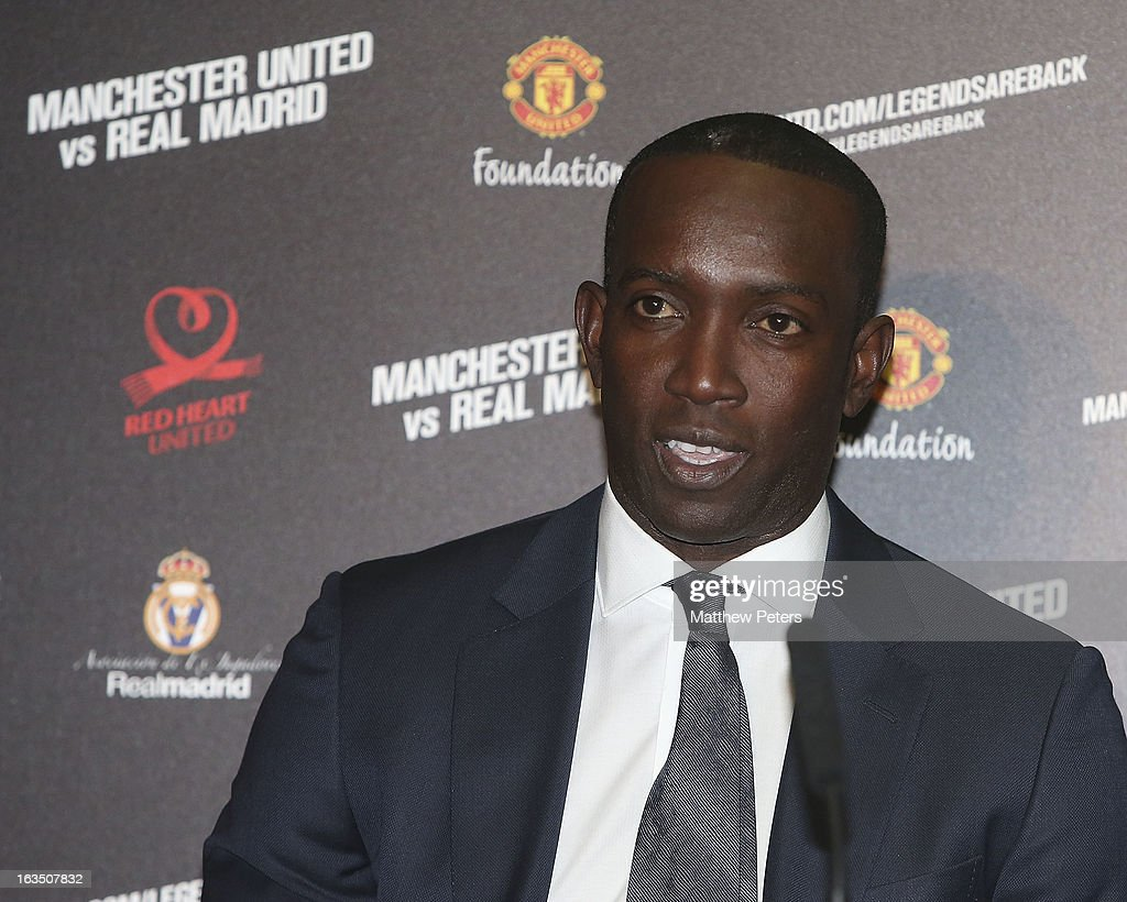 <a gi-track='captionPersonalityLinkClicked' href=/galleries/search?phrase=Dwight+Yorke&family=editorial&specificpeople=206855 ng-click='$event.stopPropagation()'>Dwight Yorke</a> of Manchester United Legends speaks at a press conference to announce a charity match between Manchester United Legends and Real Madrid Legends, to be played at Old Trafford on June 2 2013, at Old Trafford on March 11, 2013 in Manchester, England.