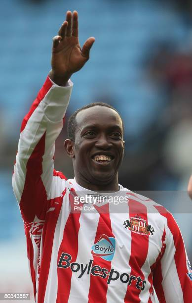 Dwight Yorke of Sunderland celebrates after victory in the Barclays Premier League match between Aston Villa and Sunderland held at Villa Park on...