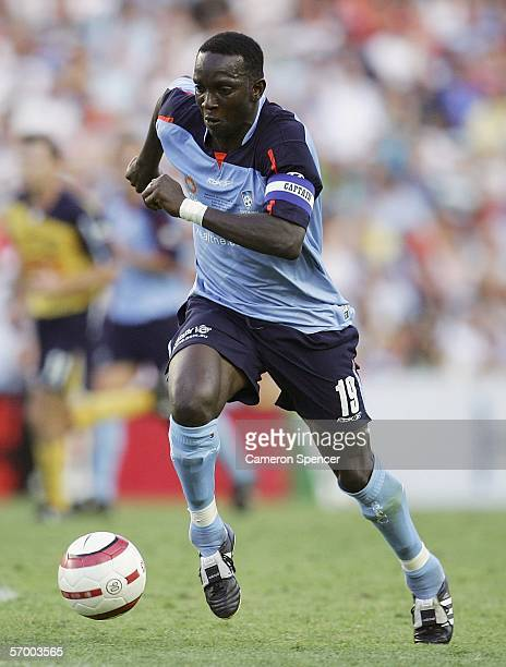 Dwight Yorke of Sydney FC dribbles the ball during the Hyundai ALeague Grand Final between Sydney FC and the Central Coast Mariners at Aussie Stadium...