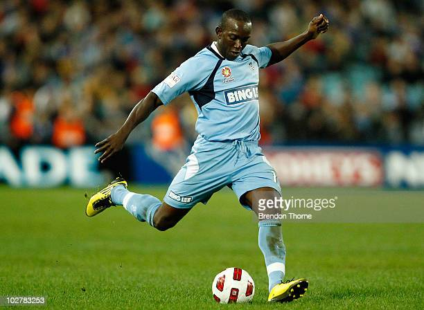 Dwight Yorke of Sydney FC shoots for goal during a preseason friendly match between Sydney FC and Everton FC at ANZ Stadium on July 10 2010 in Sydney...