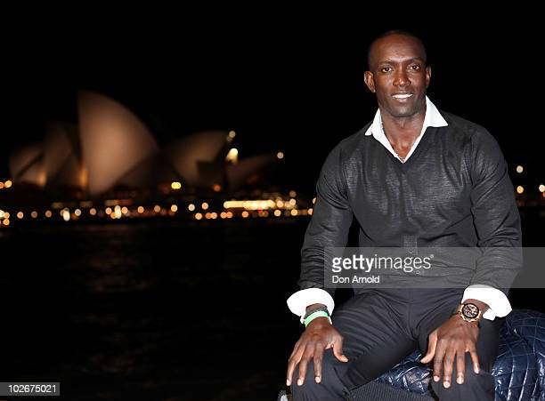 Dwight Yorke poses during a drinks event ahead of his guest appearance for Sydney FC in their match against Everton FC at Cruise Bar on July 7 2010...