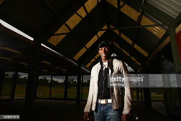 Dwight Yorke poses following a Sydney FC ALeague training session ahead of the Sydney FC v Everton Tour Down Under match on July 10 at Macquarie...