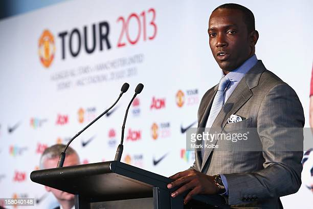 Dwight Yorke speaks to the media during a press conference at Museum of Contemporary Art on December 10 2012 in Sydney Australia Manchester United...
