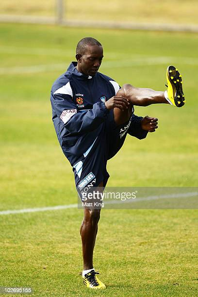 Dwight Yorke stretches during a Sydney FC ALeague training session ahead of the Sydney FC v Everton Tour Down Under match on July 10 at Macquarie...