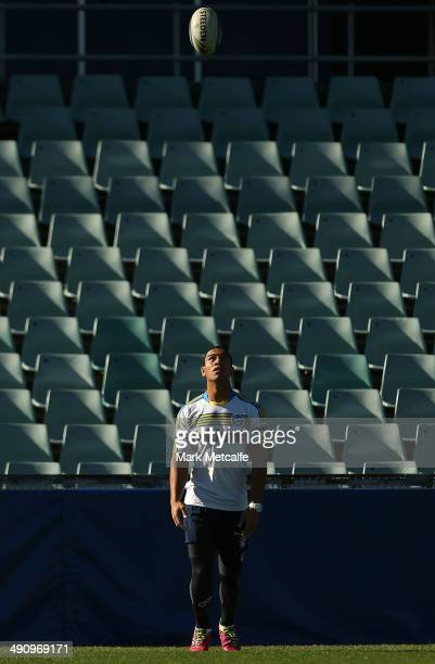 dWill Hopoate warms up during a Parramatta Eels NRL training session at Pirtek Stadium on May 16 2014 in Sydney Australia