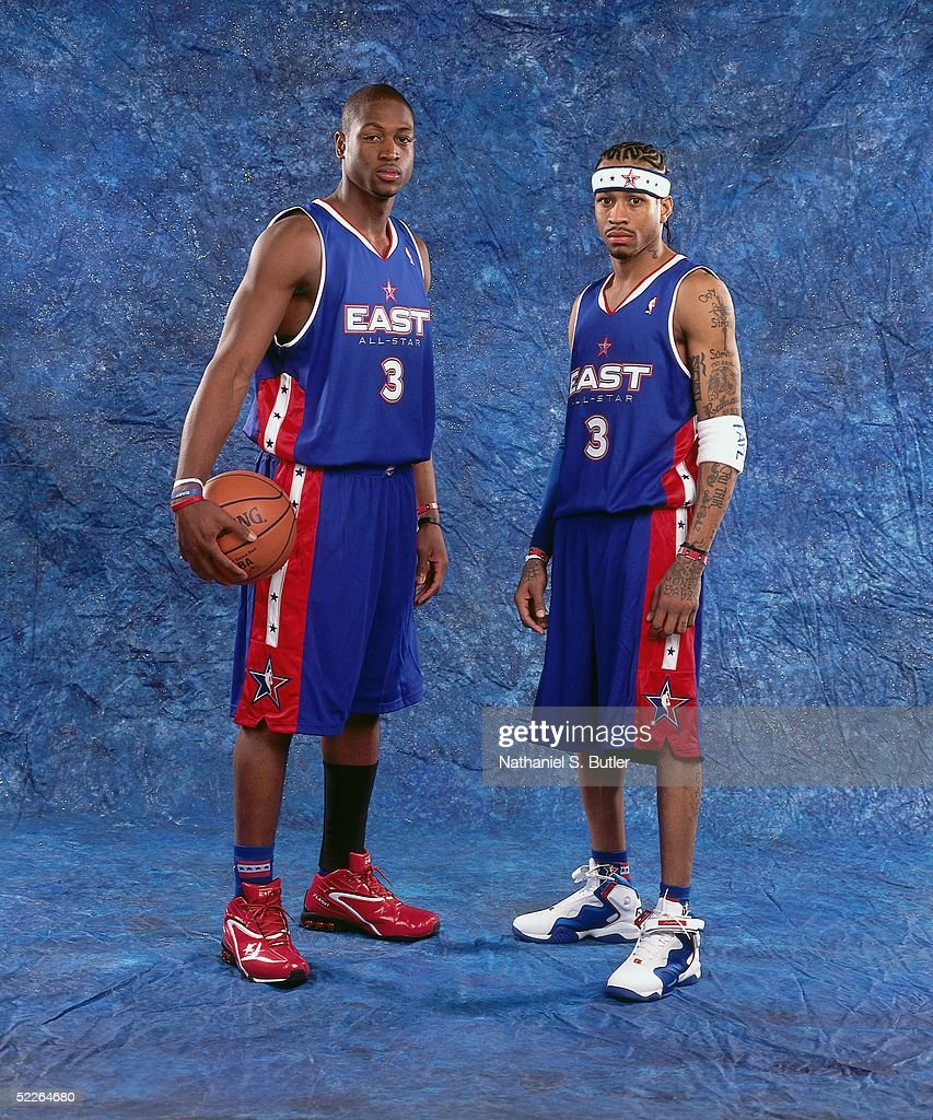 Dwyane Wade # and Allen Iverson #3 of the Eastern Conference All-Stars pose for a portrait prior to the 2005 NBA All-Star Game at The Pepsi Center on February 20, 2005 in Denver, Colorado.