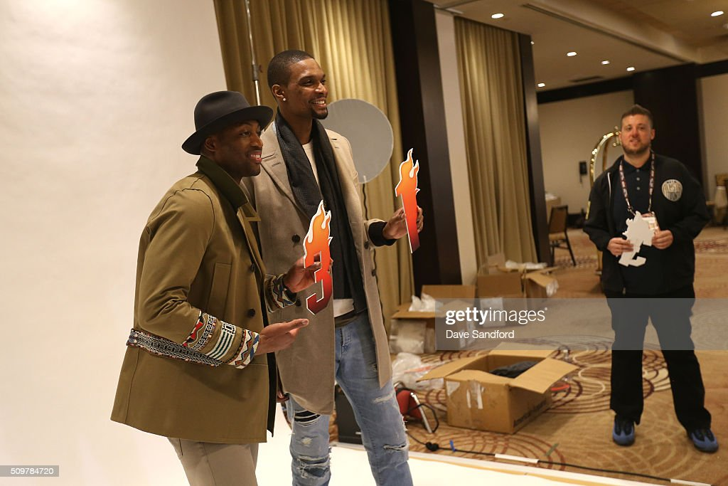 Dwyane Wade #3 and Chris Bosh #1 of the Miami Heat behind the scenes during the NBAE Circuit as part of 2016 NBA All-Star Weekend at the Sheraton Centre Toronto Hotel on February 12, 2016 in Toronto, Ontario, Canada.