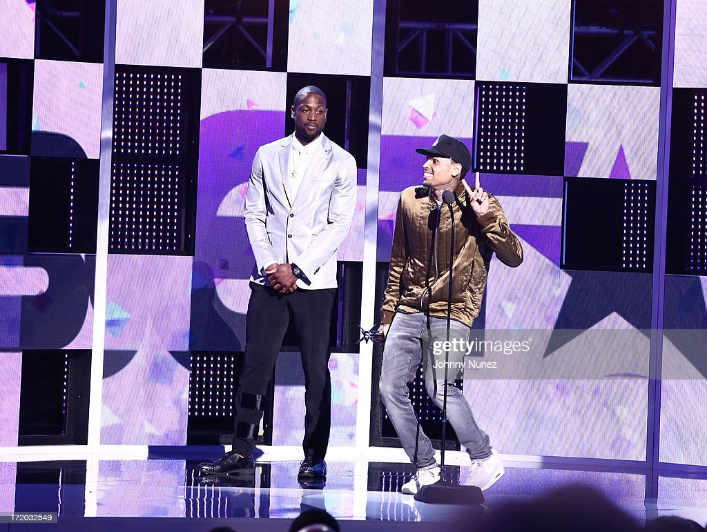 <a gi-track='captionPersonalityLinkClicked' href=/galleries/search?phrase=Dwyane+Wade&family=editorial&specificpeople=201481 ng-click='$event.stopPropagation()'>Dwyane Wade</a> and Chris Brown attend 2013 BET Awards at Nokia Plaza L.A. LIVE on June 30, 2013 in Los Angeles, California.