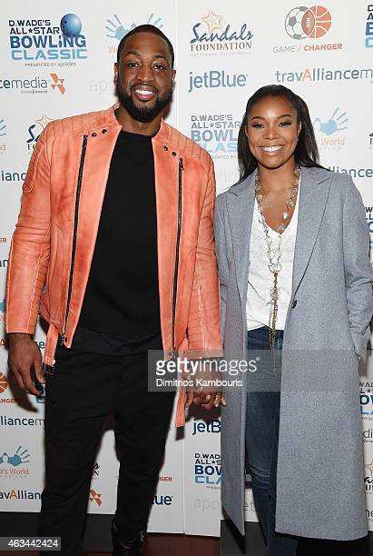 Dwyane Wade and Gabrielle Union attend Dwyane Wade's AllStar Bowling Classic hosted by the Sandals Foundation on February 14 2015 in New York City