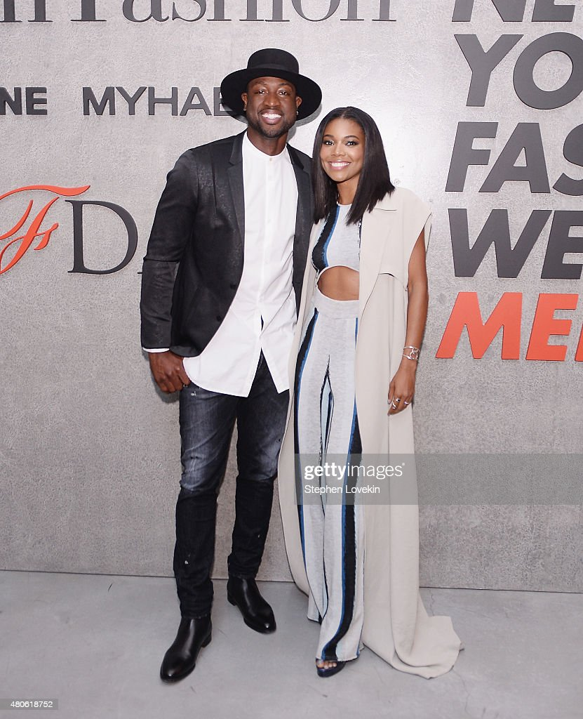 Dwyane Wade and Gabrielle Union attend New York Men's Fashion Week kick off party hosted by Amazon Fashion and CFDA at Amazon Imaging Studio on July...
