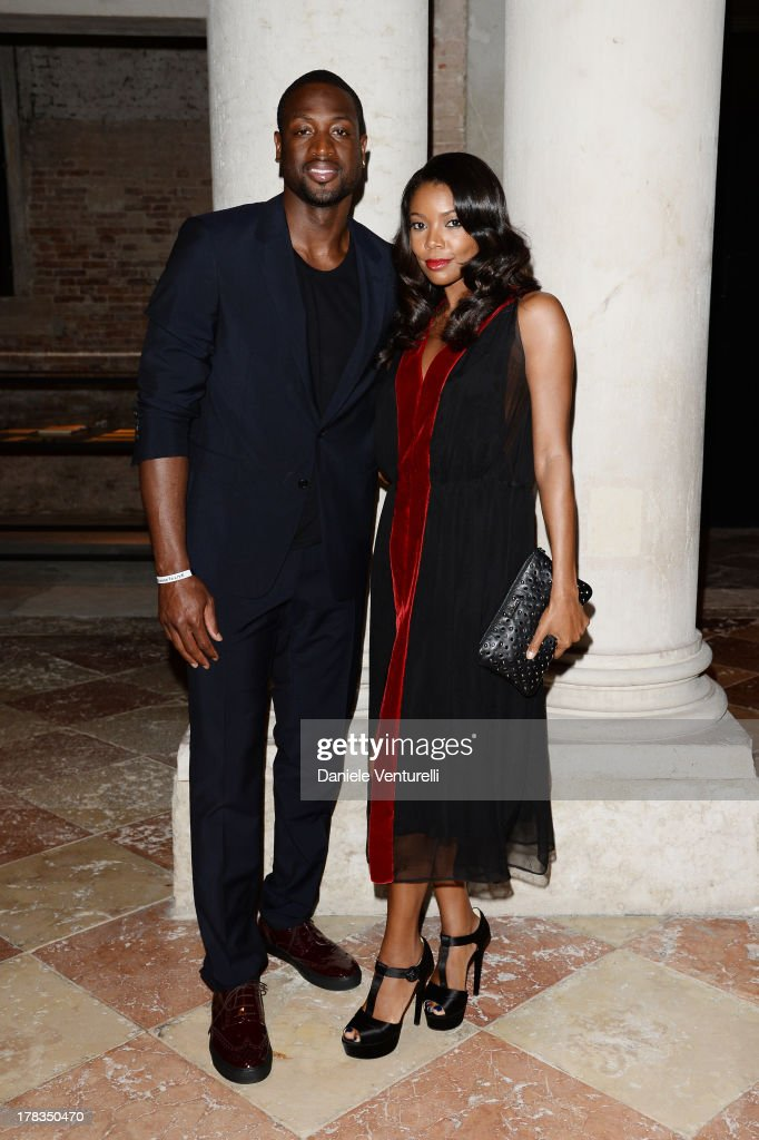 Dwyane Wade and Gabrielle Union attend the Miu Miu Women's Tales dinner hosted by Miuccia Prada at the Ca' Corner on August 29, 2013 in Venice, Italy.