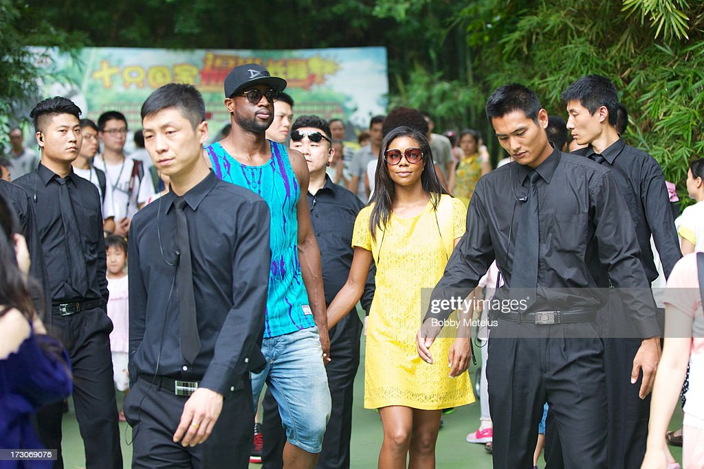 Dwyane Wade and Gabrielle Union visit Chimelong Safari Park on July 6, 2013 in Guangzhou, China.