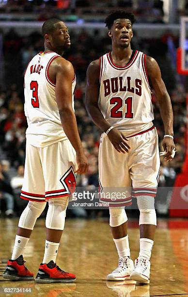 Dwyane Wade and Jimmy Butler of the Chicago Bulls look for a referees call during a game against the Atlanta Hawks at the United Center on January 25...