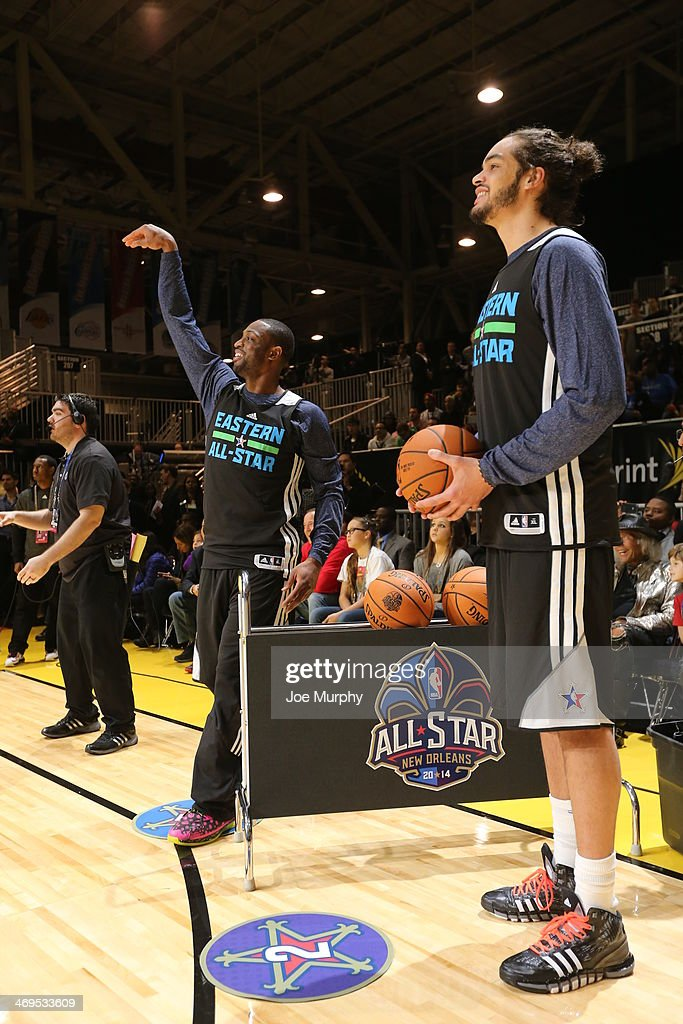 <a gi-track='captionPersonalityLinkClicked' href=/galleries/search?phrase=Dwyane+Wade&family=editorial&specificpeople=201481 ng-click='$event.stopPropagation()'>Dwyane Wade</a> #3 and <a gi-track='captionPersonalityLinkClicked' href=/galleries/search?phrase=Joakim+Noah&family=editorial&specificpeople=699038 ng-click='$event.stopPropagation()'>Joakim Noah</a> #13 of the Eastern Conference All-Stars participate in the NBA All-Star Practices at Sprint Arena as part of 2014 NBA All-Star Weekend at the Ernest N. Morial Convention Center on February 15, 2014 in New Orleans, Louisiana.