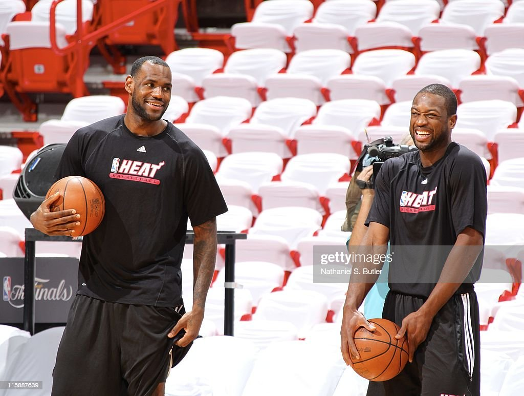 Dwyane Wade and LeBron James of the Miami Heat attend practice during NBA Finals Media Availability on June 11, 2011 at American Airlines Arena in Miami, Florida.