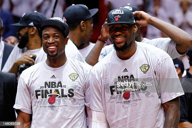 Dwyane Wade and LeBron James of the Miami Heat celebrate after the Heat defeat the Boston Celtics 10188 and adcance to the NBA Finals in Game Seven...
