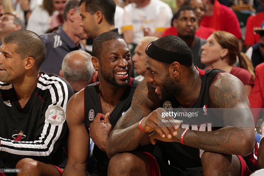 <a gi-track='captionPersonalityLinkClicked' href=/galleries/search?phrase=Dwyane+Wade&family=editorial&specificpeople=201481 ng-click='$event.stopPropagation()'>Dwyane Wade</a> #3 and <a gi-track='captionPersonalityLinkClicked' href=/galleries/search?phrase=LeBron+James&family=editorial&specificpeople=201474 ng-click='$event.stopPropagation()'>LeBron James</a> #6 of the Miami Heat share a laugh on the bench during Game Three of the Eastern Conference Finals between the Miami Heat and the Indiana Pacers during the 2013 NBA Playoffs on May 26, 2013 at Bankers Life Fieldhouse in Indianapolis, Indiana.