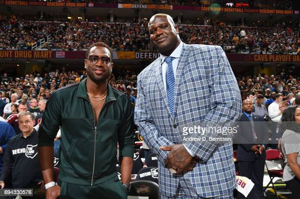 Dwyane Wade and Shaquille O'Neal pose for a photo before Game Four of the 2017 NBA Finals on June 9 2017 at Quicken Loans Arena in Cleveland Ohio...