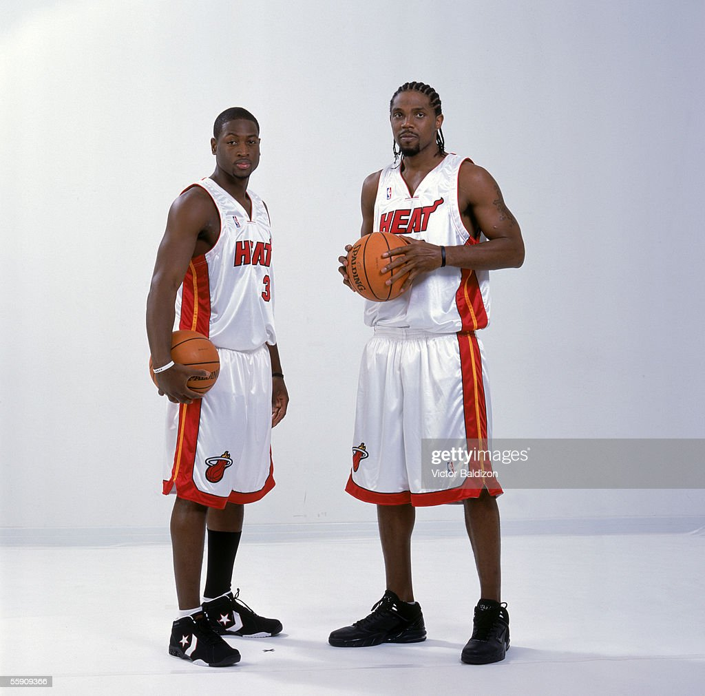 Dwyane Wade #3 and Udonis Haslem #40 of the Miami Heat pose for a portrait during the Miami Heat Media Day on October 3, 2005 in Miami, Florida.