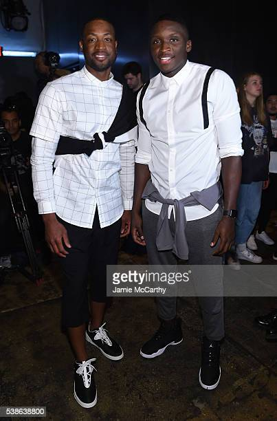 Dwayne Wade and Victor Oladipo attend Public School's Women's And Men's Spring 2017 Collection Runway Show at Cedar Lake on June 7 2016 in New York...