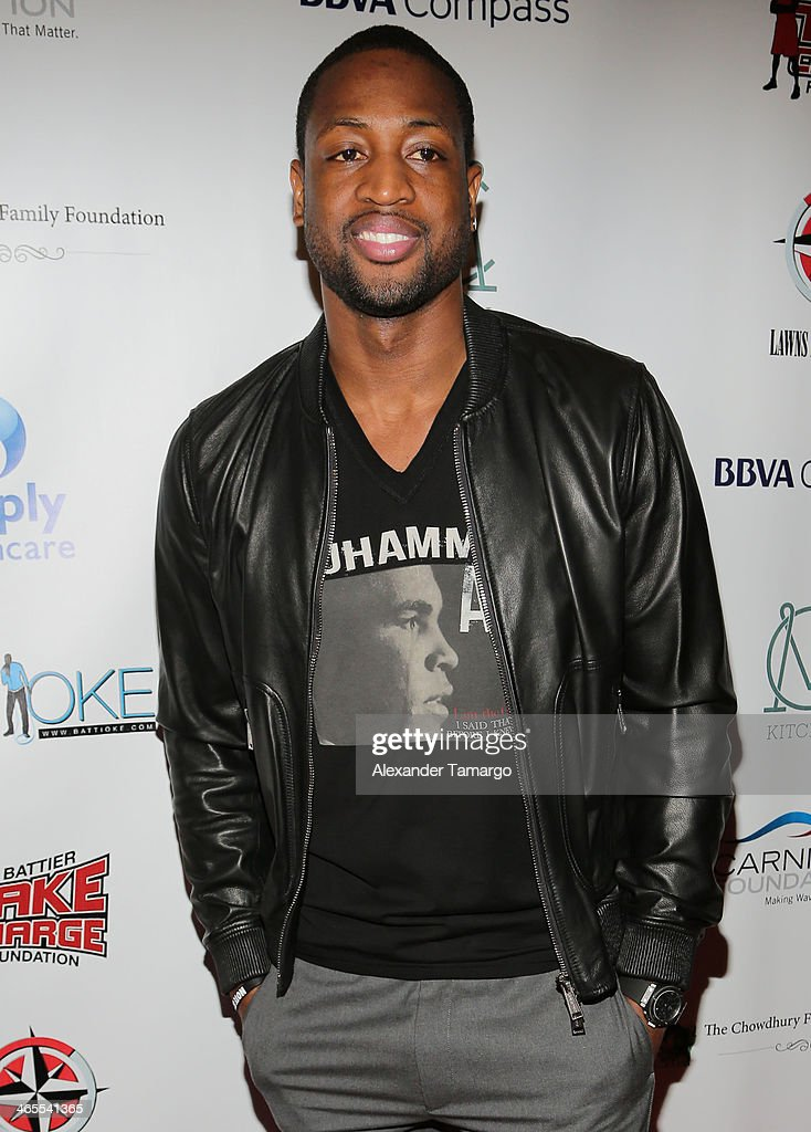 Dwyane Wade arrives at South Beach Battioke 2014 at Fillmore Miami Beach on January 27, 2014 in Miami Beach, Florida.