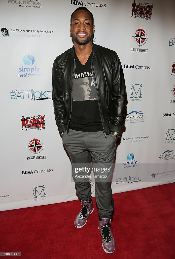<a gi-track='captionPersonalityLinkClicked' href=/galleries/search?phrase=Dwyane+Wade&family=editorial&specificpeople=201481 ng-click='$event.stopPropagation()'>Dwyane Wade</a> arrives at South Beach Battioke 2014 at Fillmore Miami Beach on January 27, 2014 in Miami Beach, Florida.