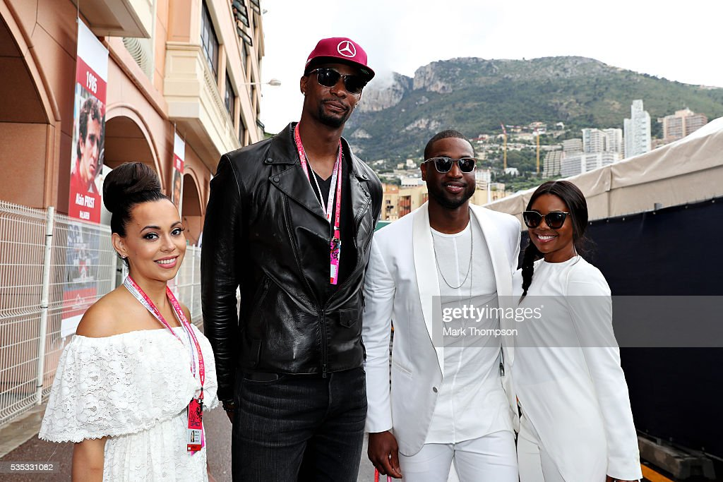 Dwayne Wade, basketball player and Gabriella Union, actor, <a gi-track='captionPersonalityLinkClicked' href=/galleries/search?phrase=Chris+Bosh&family=editorial&specificpeople=201574 ng-click='$event.stopPropagation()'>Chris Bosh</a>, basketball player, and his wife Adrienne, in the Paddock ahead of the Monaco Formula One Grand Prix at Circuit de Monaco on May 29, 2016 in Monte-Carlo, Monaco.