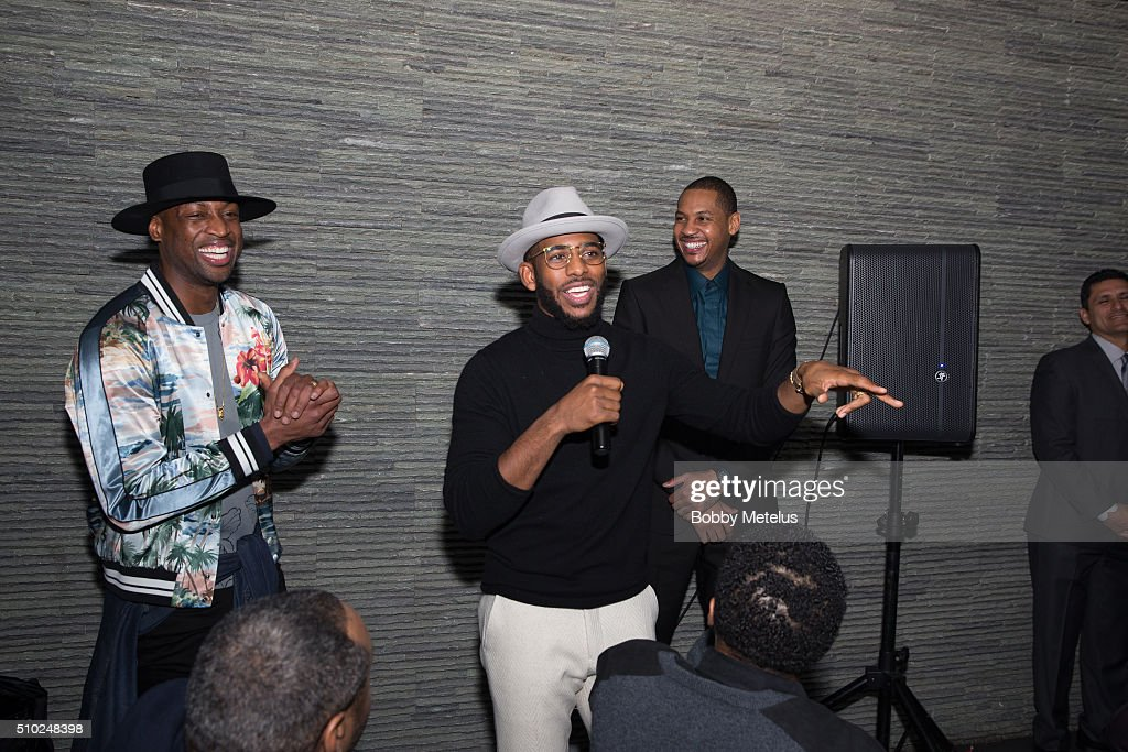 Dwyane Wade, Chris Paul and Carmelo Anthony take a moment to honor Kobe Bryant at The Gentleman's Supper Club hosted by Chris Paul, Dwyane Wade and Carmelo Anthony honoring Kobe Bryant on February 13, 2016 in Toronto, Canada.