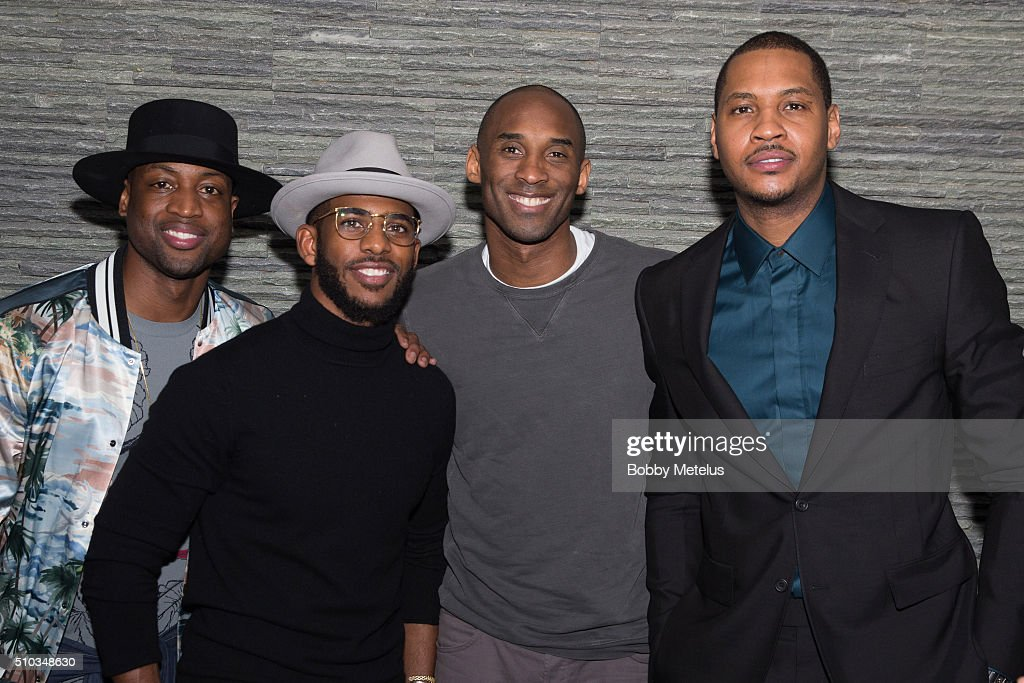 Dwyane Wade Chris Paul Kobe Bryant and Carmelo Anthony during The Gentleman's Supper Club hosted by Chris Paul Dwyane Wade and Carmelo Anthony...