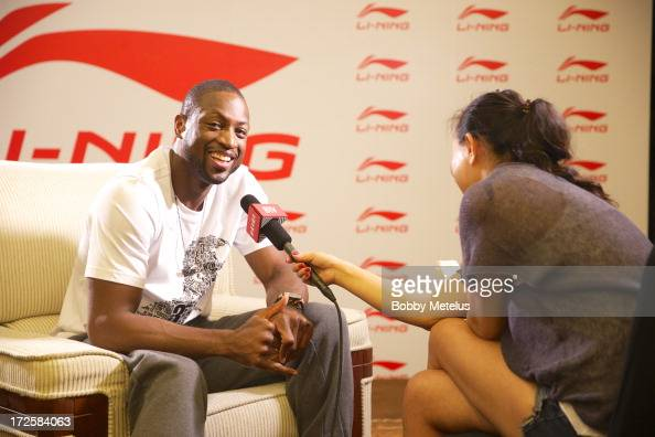 Dwyane Wade is interviewed during the WOW meet and greet on July 3 2013 in Beijing China