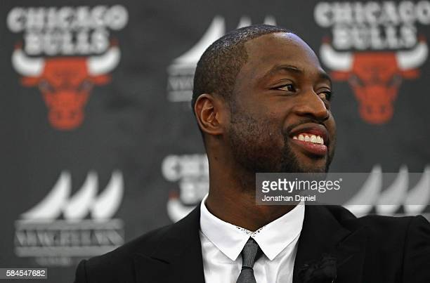 Dwyane Wade is introduced as a new member of the Chicago Bulls at the Advocate Center on July 29 2016 in Chicago Illinois