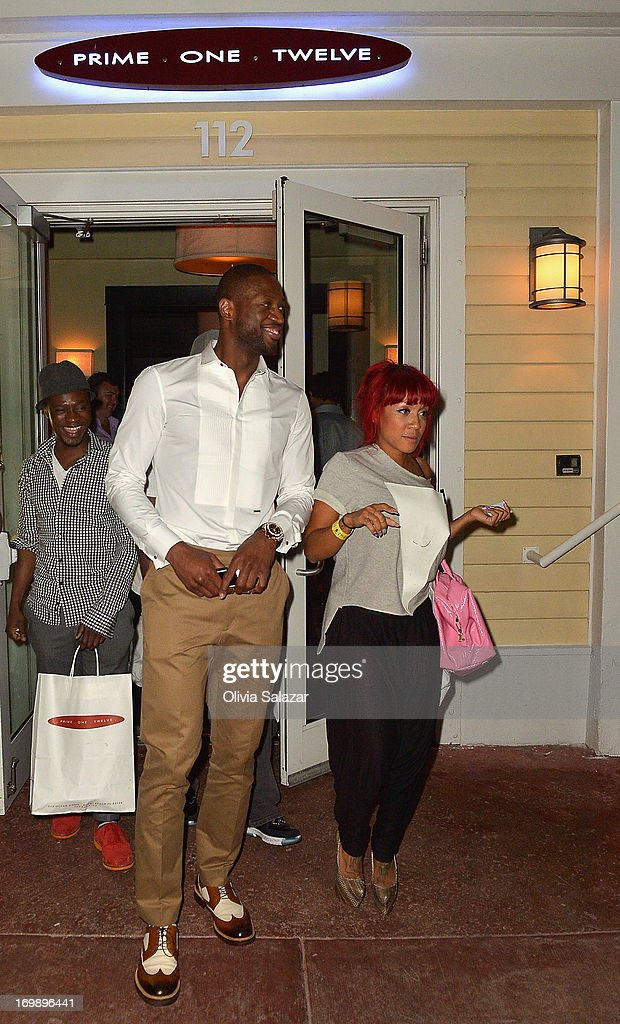 <a gi-track='captionPersonalityLinkClicked' href=/galleries/search?phrase=Dwyane+Wade&family=editorial&specificpeople=201481 ng-click='$event.stopPropagation()'>Dwyane Wade</a> is sighted at Prime 112 Steakhouse on June 3, 2013 in Miami Beach, Florida.
