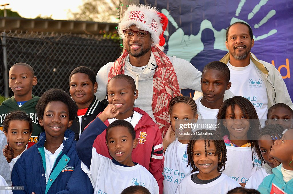 <a gi-track='captionPersonalityLinkClicked' href=/galleries/search?phrase=Dwyane+Wade&family=editorial&specificpeople=201481 ng-click='$event.stopPropagation()'>Dwyane Wade</a> makes an appearance on behalf of Wade's World Foundation at Santa's Enchanted Forest on December 23, 2012 in Miami, Florida.