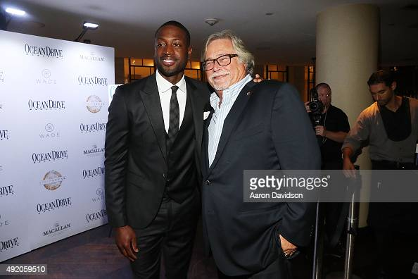 Dwyane Wade Micky Arison attend Ocean Drive Magazine celebrates its October mens issue with Dwyane Wade at StripSteak by Michael Mina at...