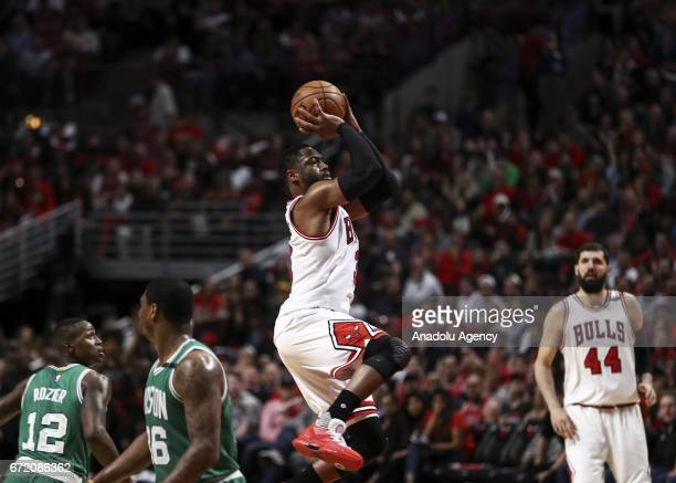 Dwyane Wade of Bulls in action during the NBA match between Chicago Bulls and Boston Celtics at the United Center in Chicago Illinois United States...