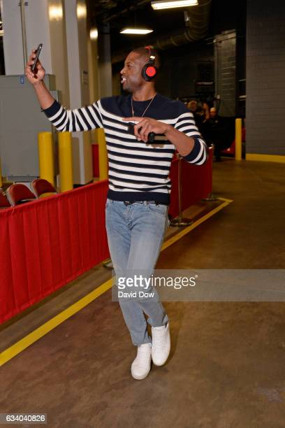 Dwyane Wade of the Chicago Bulls arrives at the Toyota Center before the game against the Houston Rockets on February 3 2017 in Houston Texas NOTE TO...