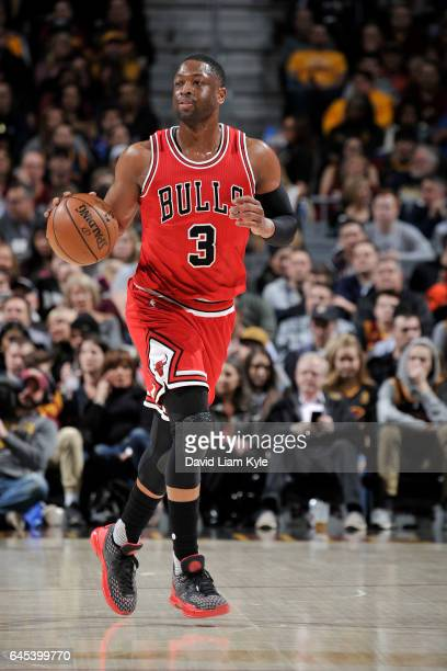 Dwyane Wade of the Chicago Bulls brings the ball up court against the Cleveland Cavaliers during the game on February 25 2017 at Quicken Loans Arena...