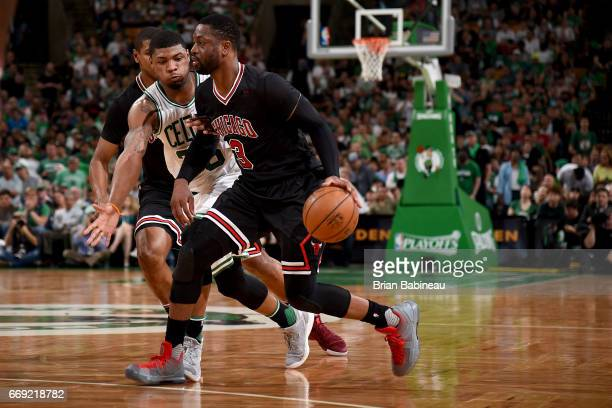 Dwyane Wade of the Chicago Bulls drives to the basket against the Boston Celtics during the Eastern Conference Quarterfinals of the 2017 NBA Playoffs...